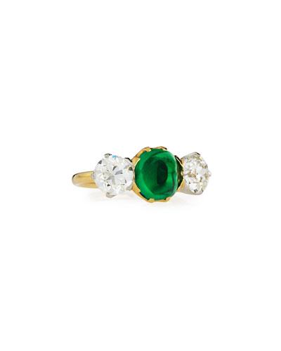 Estate Edwardian Tiffany Sugarloaf Emerald & Diamond Ring, Size 6