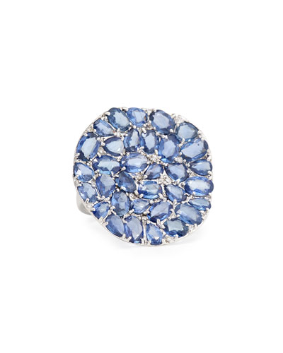 RINA LIMOR Signature Slice-Cut Sapphire & Diamond Statement Ring, Size 7