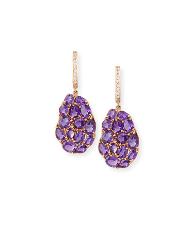 Signature 18K Rose Gold Amethyst & Pink Sapphire Drop Earrings