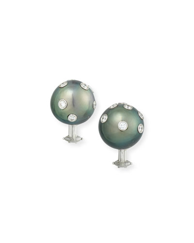 Tahitian Pearl & Bezel-Set Diamond Button Clip Earrings