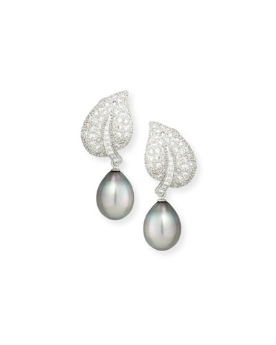 18K Tahitian Pearl & Diamond Leaf Drop Clip Earrings