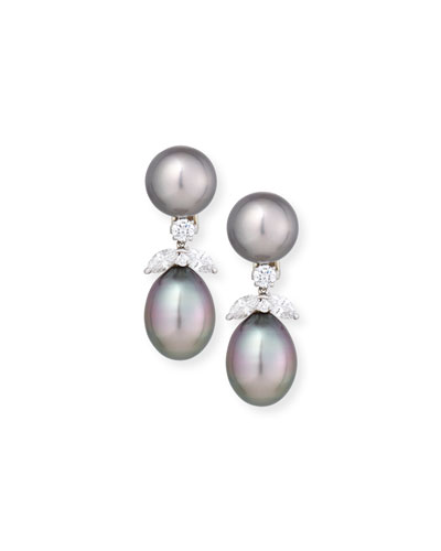 18K Tahitian Pearl & Diamond Double-Drop Earrings