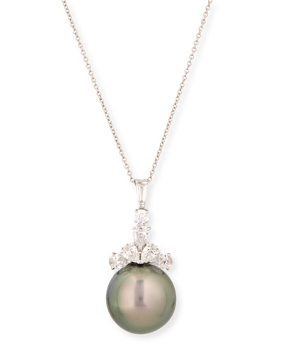 Tahitian Pearl & Diamond Pendant Necklace, 18