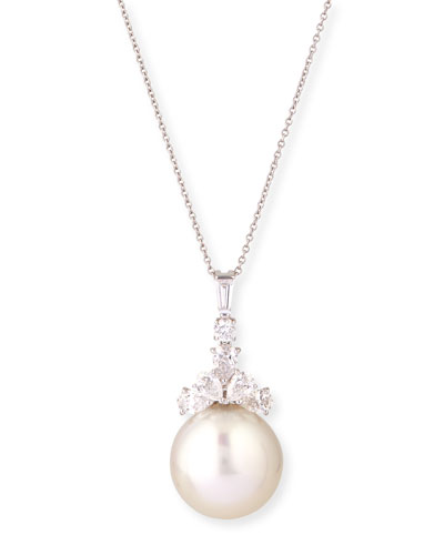 Eli Jewels Golden South Sea Pearl & Pave Diamond Necklace, 38L