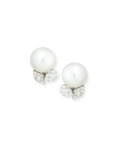 South Sea Pearl & Diamond Leaf Button Post/Clip Earrings