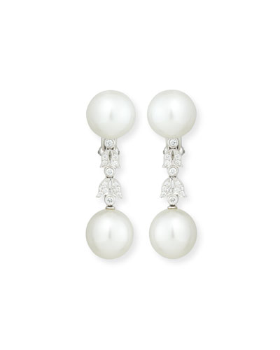 South Sea Pearl Button & Diamond Drop Clip/Post Earrings