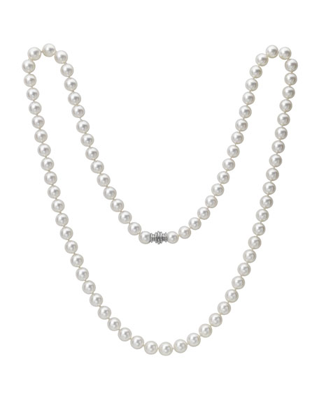 "Assael Akoya 32"" Akoya Cultured 9.5mm Pearl Necklace with White Gold Clasp"