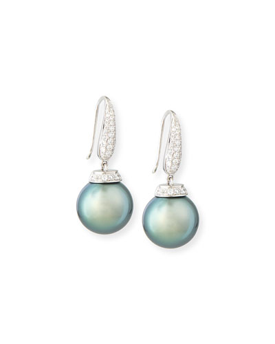Avenue 18K White Gold Tahitian Pearl & Diamond Earrings