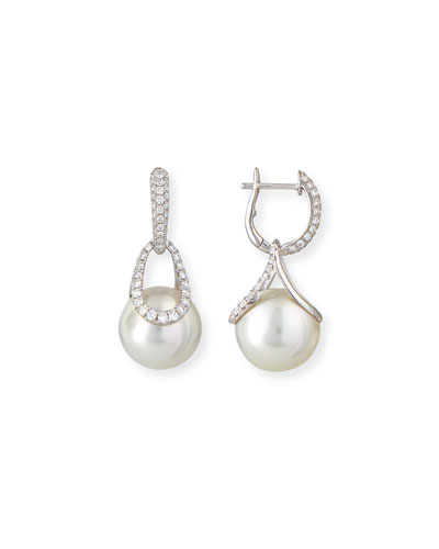Avenue 18K White Gold South Sea Pearl & Diamond Earrings