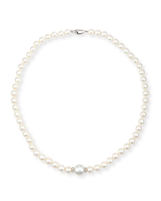 Aura 18K White Gold Pearl & Diamond Necklace