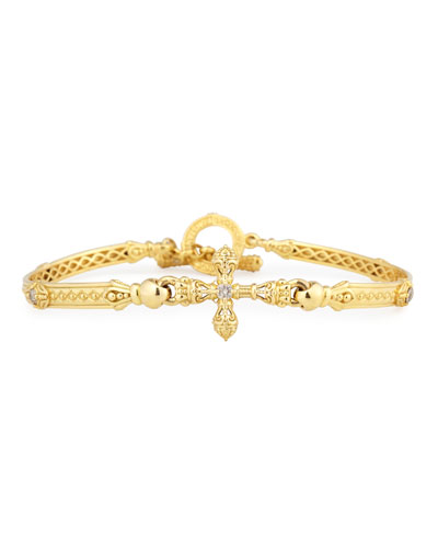 Flamenco Cross Station Bracelet with Diamonds