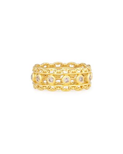 Konstantino 18k Yellow Gold Honeycomb Ring w/ Diamonds HqorngWUI
