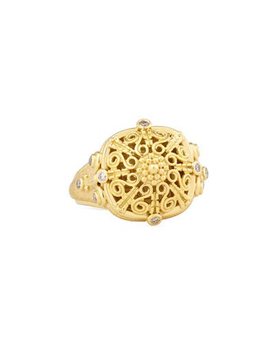 Flameco Scroll Dome Ring with Brown Diamonds, Size 7