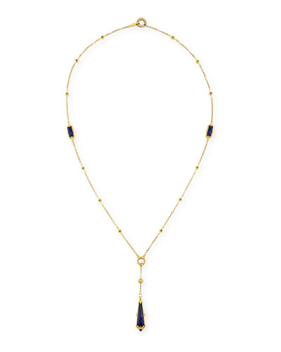 Flamenco 18K Gold Lapis & Sapphire Y-Pendant Necklace