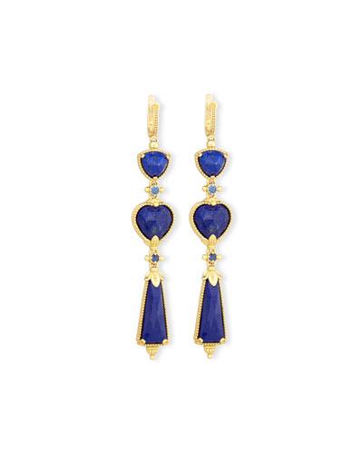 Flamenco 18K Lapis & Sapphire Triple-Drop Earrings