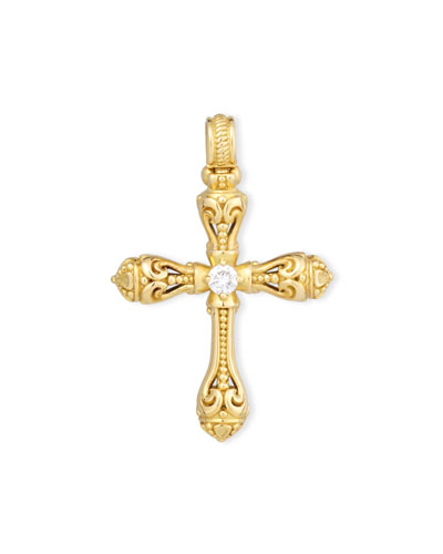Flamenco 18K Scroll Cross Pendant with Diamond Center