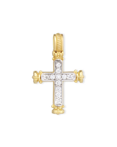 Flamenco 18K Pavé Diamond Cross Pendant