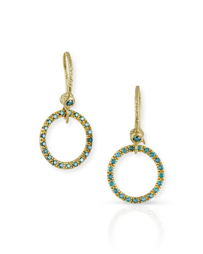 18K Yellow Gold & Blue Diamond Round Drop Earrings