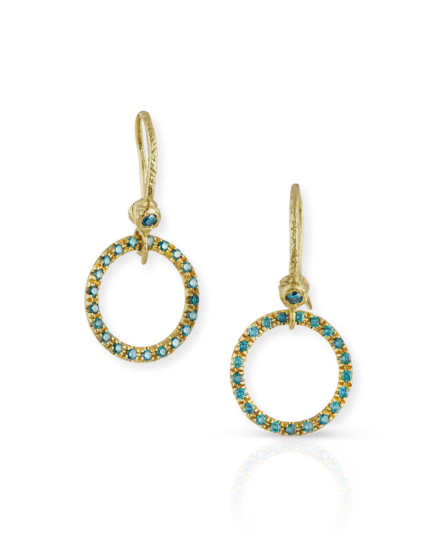 18 Yellow Gold & Blue Diamond Round Drop Earrings