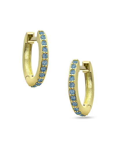 18K Yellow Gold & Blue Diamond Huggie Hoop Earrings