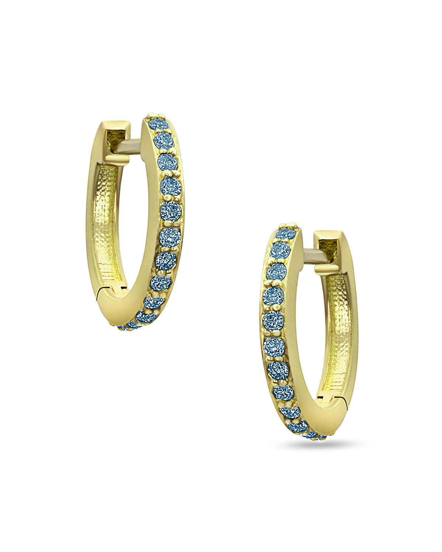 18k Yellow Gold Blue Diamond Huggie Hoop Earrings
