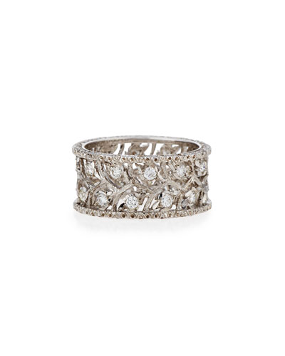 Ramage 18K White Gold Diamond Ring, 0.66 tdcw, Size 55