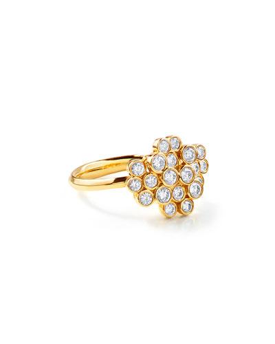 18K Glamazon Stardust Diamond Bezel Cluster Ring, Size 7