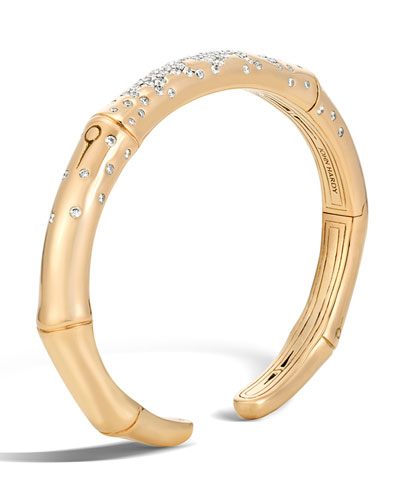 Bamboo 7mm 18k Gold Diamond Kick Cuff Bracelet, Size S
