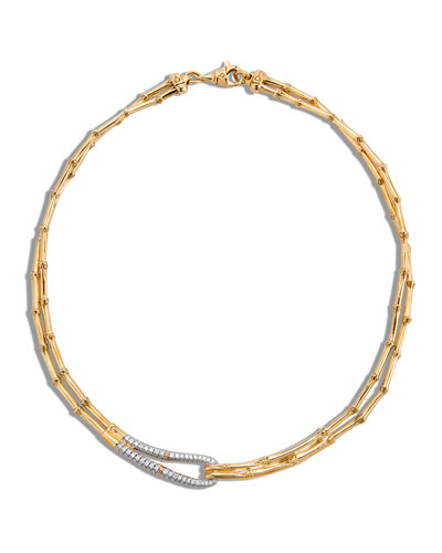 Bamboo 18K Gold & Diamond Loop Necklace