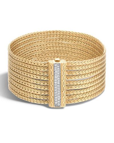Classic Chain 18K Diamond 9-Row Chain Bracelet, Size M