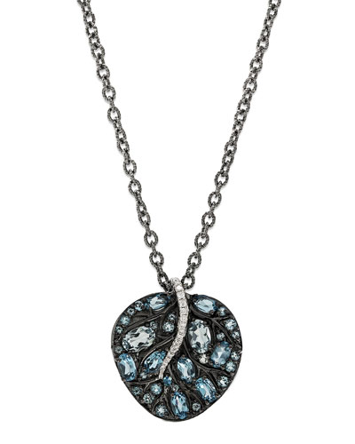 Botanical Leaf Pendant Necklace with Blue Topaz & Diamonds