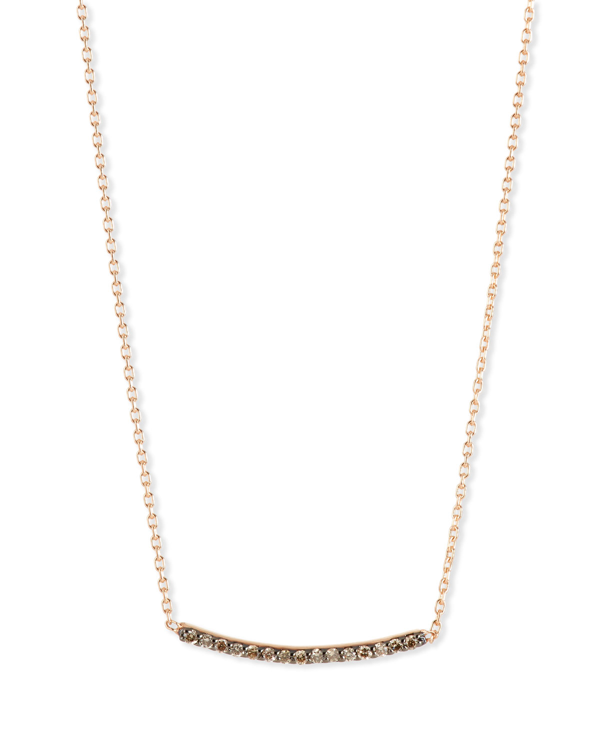 KISMET BY MILKA LUMIERE 14K ROSE GOLD & CHAMPAGNE DIAMOND BAR NECKLACE