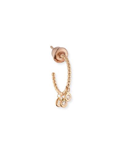 Bead 14K Rose Gold & Diamond Trio Hoop Earrings