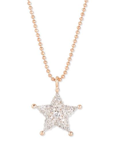 Sheriff Star 14K Rose Gold & Diamond Pendant Necklace