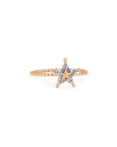 Sheriff Star 14K Rose Gold & Diamond Ring, Size 7