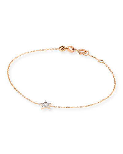 14K Rose Gold & Diamond Star Bracelet