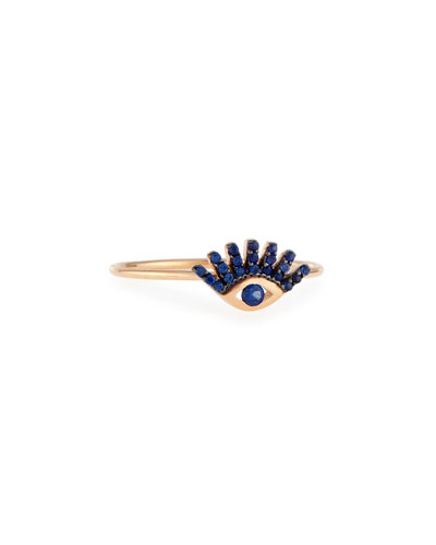 Protect Me 14K Rose Gold & Blue Sapphire Evil Eye Ring, Size 7