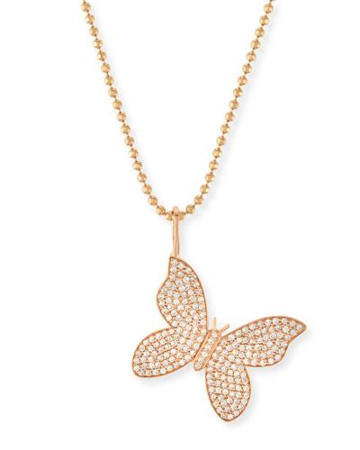 Pavé Diamond Butterfly Charm Necklace