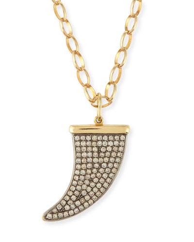 Large Pavé Diamond Horn Pendant Necklace