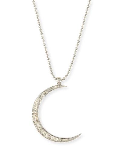 Large Pavé Diamond Crescent Moon Pendant Necklace