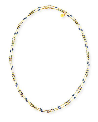 Delicate Long Beaded Sapphire Necklace, 48