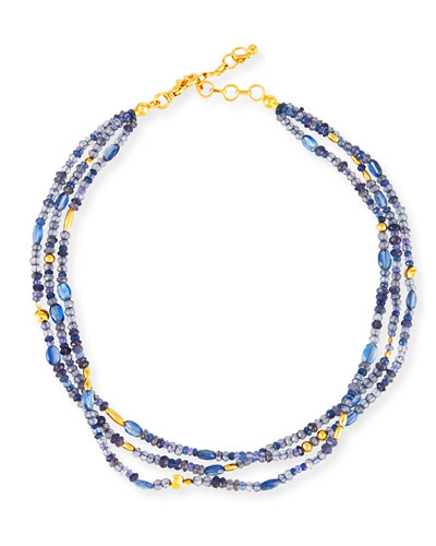 Blue Rain Flurries Three-Strand Necklace