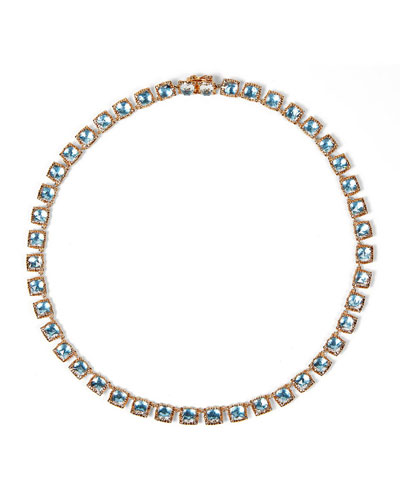 Bella Mini 18K Rose Gold-Washed Button Rivière Necklace, Sky Blue