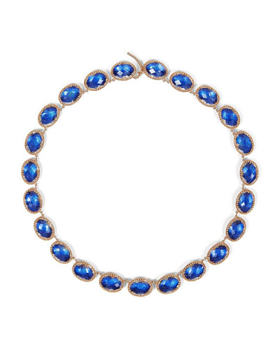 Lily 18K Rose Gold-Washed Button Rivière Necklace, Cobalt