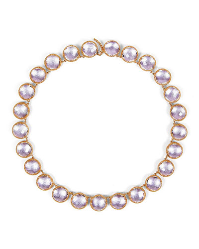 Olivia 18K Rose Gold-Washed Button Rivière Necklace, Ballet Pink
