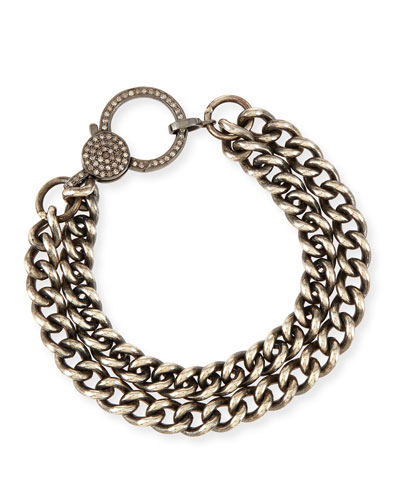 Oxidized Silver Curb Chain Bracelet with Diamond Clasp
