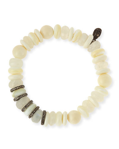 10-11mm Mixed Bead Bracelet with Diamond Rondelles, White