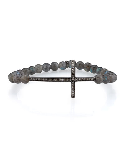 6mm Labradorite Bracelet with Diamond Cross