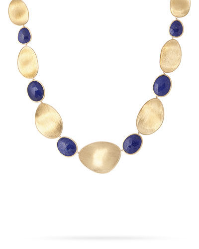 Lunaria Lapis Alternating Station Necklace, 18