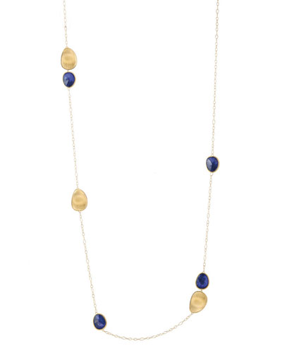 Lunaria 18K Gold & Lapis Station Necklace, 39.3